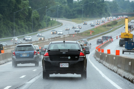 congested: WASHINGTON, USA - JUNE, 23 2016 - Maryland Baltimore to Washington heavy car traffic Congested highway Editorial
