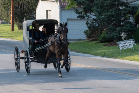 reluctance: LANCASTER, USA - JUNE 25 2016 - Amish people in Pennsylvania. Amish are known for simple living with touch of nature contacy, plain dress, and reluctance to adopt conveniences of modern technology