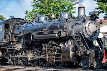 steam engine: old steam engine iron train detail close up view
