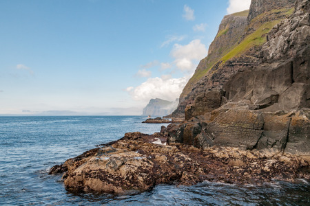 danmark: Faer Oer Danmark Vestmanna Cliffs Panorama, landscape Stock Photo