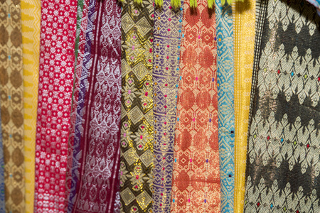 cotton fabric: Batik indonesian silk cotton fabric tissue for sale on display at the market