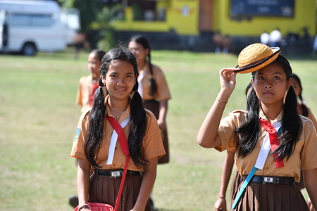 dominacion: Ubud, Indonesia - 17 de agosto 2016 - Día de la Independencia de la dominación holland 17 de de agosto de 1945 está celebrando en todo en el país