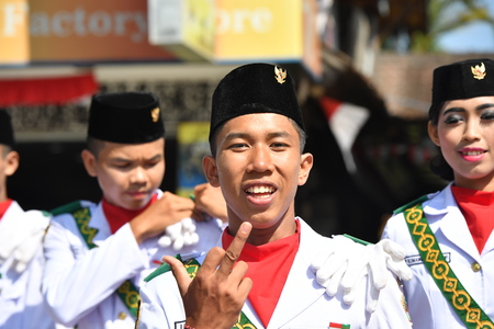 dominacion: UBUD, INDONESIA - AUGUST 17 2016 - Independence day from holland domination 17 August 1945 is celebrating all around in the country Editorial