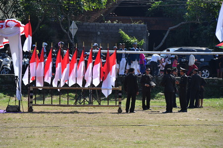 domination: UBUD, INDONESIA - AUGUST 17 2016 - Independence day from holland domination 17 August 1945 is celebrating all around in the country Editorial