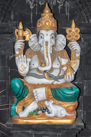 sanskrit: ganesh statue inside a temple close up detail Stock Photo