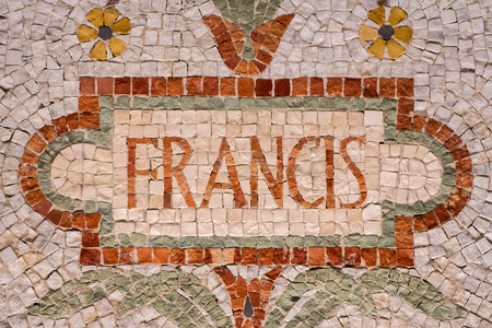 orison: Pope Francis name in red mosaic patchwork Stock Photo
