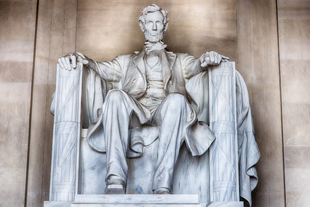 Standbeeld van Abraham Lincoln in Washington DC Memorial Stockfoto