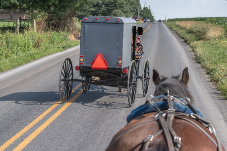 amish: horse wagon buggy in lancaster pennsylvania amish country Stock Photo