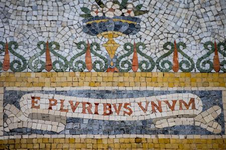 pluribus: e pluribus unum inscription mosaic close up detail