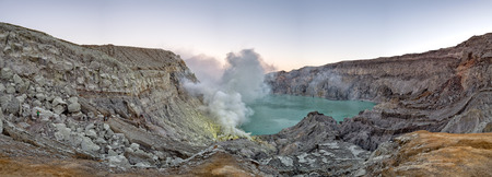 yellow sulfur mine Indonesia Ijen volcano at sunrise panorama landscape view