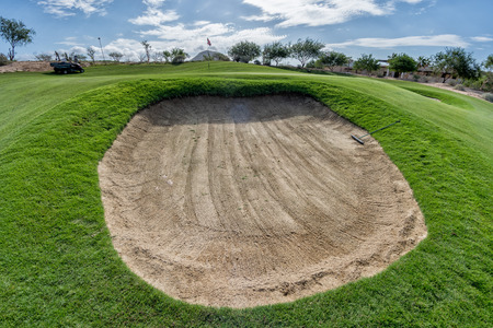 desert golf course green in Baja California bunker