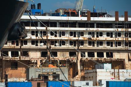 concordia: Wreck of Costa Concordia Ship in Genoa Harbor