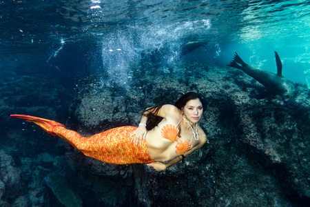 pinniped: black hair Mermaid swimming underwater in the deep blue sea with a sea lion