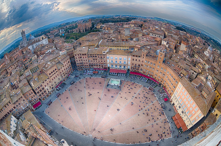 siena aerial view panorama cityscape in tuscany italy
