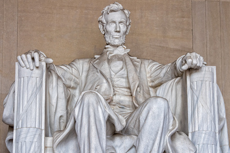 Abraham Lincoln statue at Washington DC Memorial close up