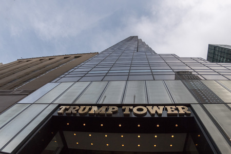 NEW YORK - USA - APRIL, 20 2017  people at Trump Tower new city symbol after Donald Trump was elected new america president