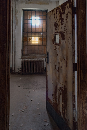 abandoned psychiatric hospital interior rooms view Stock Photo