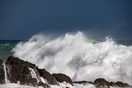 Big waves of Sea Storm and tempest on the coast