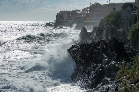 Sea Storm and tempest on the coast in Genoa Town, Italy