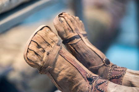 Egyptian mummy close up detail of feets Stock Photo