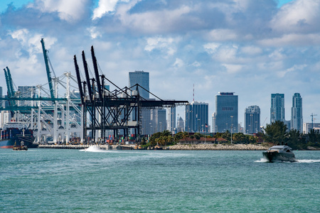 Florida miami harbour and downtown view panorama cityscape Stock Photo