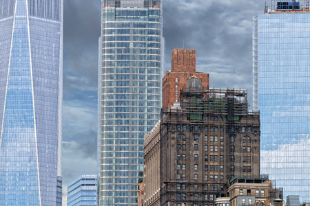 new york manhattan skyscrapers building detail reflections on windows Stock Photo