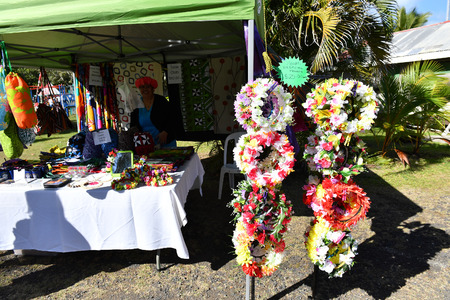 RAROTONGA, COOK ISLANDS - AUGUST 19 2017 - Punanga Nui Cultural Market is a must do for visitors to the Cook Islands as it is quite a cultural representation of all the islands