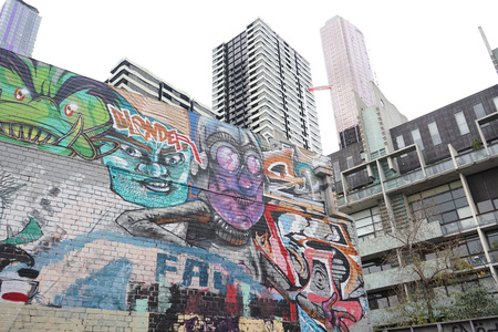 MELBOURNE, AUSTRALIA - AUGUST 15 2017 - City street art is internationally renowned offering a feast of colour, ideas and energy. It has become an attraction for tourist experiencing Melbourne's creative ambience. Redakční