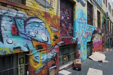 Melbourne murales on city streets detail Editorial