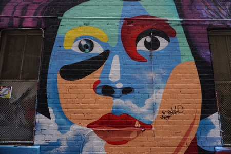 MELBOURNE, AUSTRALIA - AUGUST 15 2017 - City street art is internationally renowned offering a feast of colour, ideas and energy. It has become an attraction for tourist experiencing Melbourne�s creative ambience. Redakční