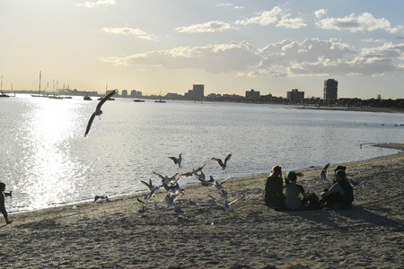 st kilda: MELBOURNE, AUSTRALIA - AUGUST 14, 2017 - located 6 kilometres south from the city centre St. Kilda Beach is Melbournes most famous beach