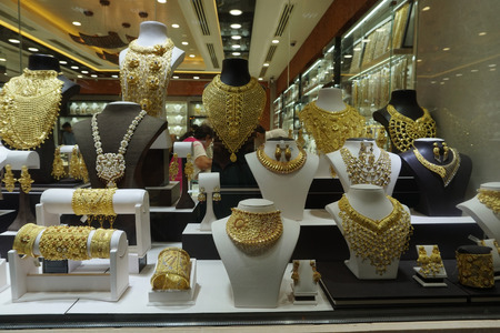 gold souk: DUBAI, UAE - SEPTEMBER 3 2017 - Gold Souk is located in commercial business district with over 300 retailers and jewellery traders. Approximately 10 tons of gold is present at any given time in the souk