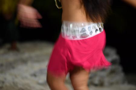 Polynesia dance hula move effect at night Stock Photo