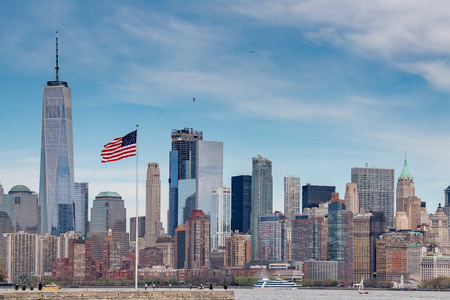 New York Manhattan Panorama cityscape on sunny day Stock Photo