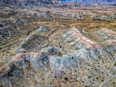 aerial panorama Baja California Sur Rocks desert landscape view with drone Stock Photo
