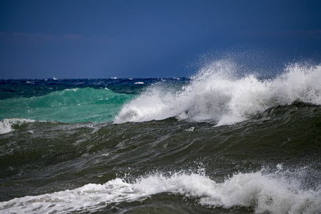 tsunami tropical hurricane on the sea big waves