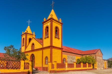 El Triunfo Historical orange Church in Baja California Sur Mexico Stock Photo