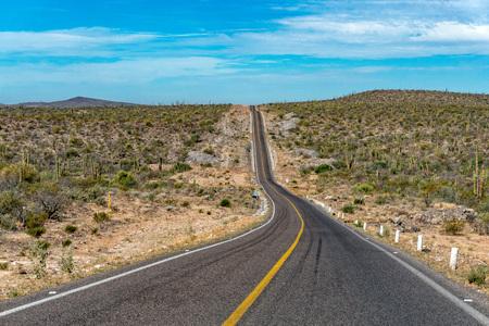 driving in Mexico baja california desert endless road