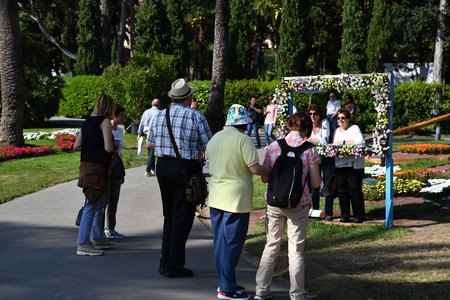 GENOA, ITALY - APRIL 27 2017 -  Euroflora in Nervi parks: is the most important among the European floralies 86 thousand square meters and 5 kilometers of paths between gardens and historic villas overlooking the sea Editorial