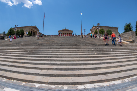 PHILADELPHIA, USA - JUNE19, 2016 - Tourist near Rocky statue, well famous sylvester stallone movie flight of steps of Museum of arts