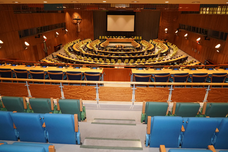 NEW YORK, USA - MAY 25 2018 - United Nations trusteeship council hall; headquartered in a complex designed by architect Oscar Niemeyer open to public