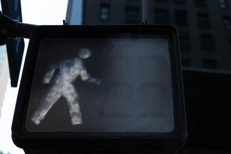 New york city pedestrian traffic light cross dont