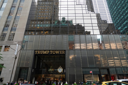 NEW YORK, USA - MAY 27  2018 - people at Trump Tower new city landmark after Donald Trump was elected new america president