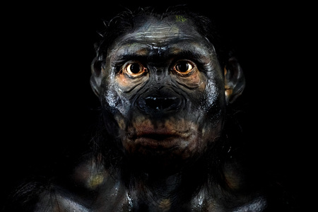Neanderthal man face isolated on black