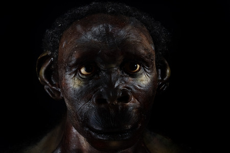 Neanderthal man face isolated on black Foto de archivo
