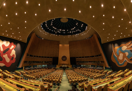 NEW YORK, USA - MAY 25 2018 - United Nations general assembly hall; headquartered in complex designed by architect Oscar Niemeyer open to public