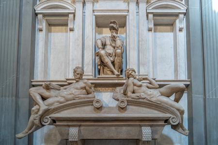 Michelangelo medici tomb schapel culpture detail in florence