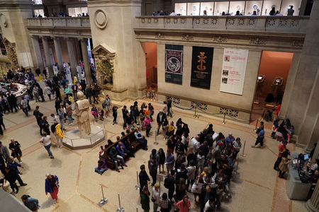 NEW YORK, USA - MAY 27 2018 - MET is the largest art museum in the United States with more than 7 million visitors per year, it is the third most visited art museum in the world,
