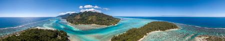 Moorea island french polynesia lagoon aerial view panorama landscape