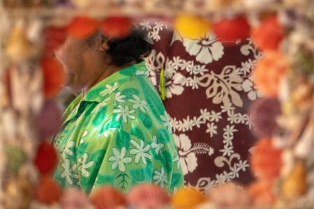 Polynesia sarong hand made man at the mirror
